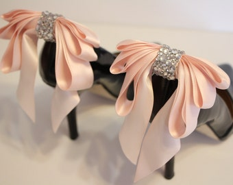 BLUSH PINK  Bow Shoes clips -   blush pink shoe clips with  rhinestones - blush pink triple bow shoe clips
