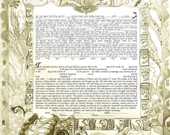 Modern Ketubah-digital print on paper 180gr-various dimensions, colors , and  version-wedding gift-judaica gift