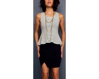 Navy and White Stripe Shirt Sleeveless Shirt Summer Shirt Dress Shirt Peplum Shirt