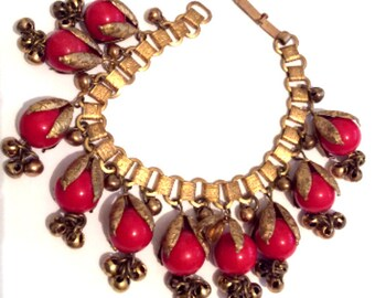 Art Deco Book Chain Bracelet, Red Celluloid Bead, Bells, Vintage Jewelry,  SUMMER SALE