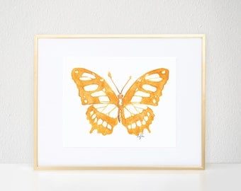 Butterfly Print, Gold Bug Illustration - Fashion Wall Art Watercolor Painting, Malachite Butterfly