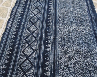 Batik cotton fabrics,  Indigo Blue, Hmong textiles Table runner- from Thailand