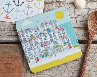 Summer by the Sea coaster. Melamine cork backed coaster - Illustrative kitchen products designed by Jessica Hogarth and printed in the UK