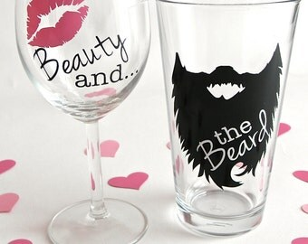 Beauty and the Beard, Beard Wine Glass, Beard Beer Mug, Wedding toasting glasses, mr and mrs, Beauty Beard, His and Hers Wine Glass, Beards