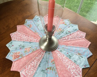 Dresden Plate Quilt, French Country Blue & Pink Floral Quilted Table Topper, Candle Mat