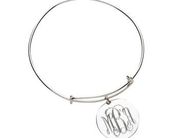Bangle Monogrammed Bracelet Silver