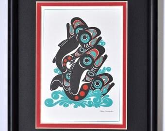 Framed 8 X 10 Art Card - Northwest Native American Salmon