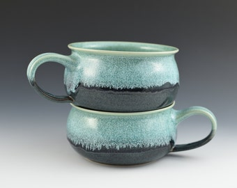 Soup Bowl in Aqua and Blue Handmade Pottery