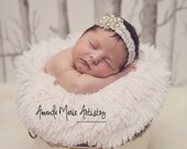 Vintage Rhinestone Couture Ivory Lace Headband - Stunning Newborn Photo Prop