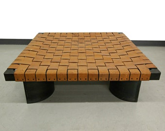 Industrial Woven Leather and Steel Coffee Table