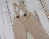 Vintage Inspired Adjustable Khaki Suspender Pants with Wooden Buttons