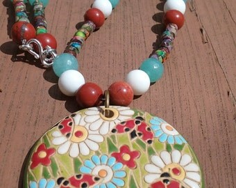 summery ceramic and beads fun meadow necklace