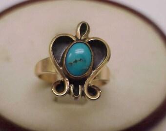 Estate  Vintage Turquoise Enameled  14k Yellow Gold Ring, 1930's