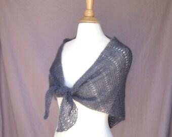 Small Shawl Wrap, Hand Knit, Prayer Shawl, Charcoal Gray, Mohair Silk, Elegant Wrap, Shoulder Shawl