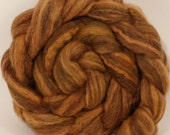 Natural Hand dyed bfl / silk top for spinning  - Madder - (4.3 oz.) Mixed Bluefaced Leicester/tussah silk (75/25)