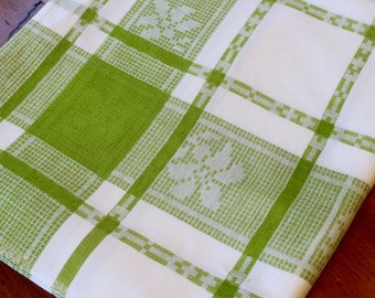 Vintage Linen Tablecloth Plaid White Apple Green Table Cloth Picnic Damask Chartreuse