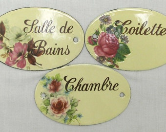 "Three Heavy enamelled metal  ""Toilettes"", ""Chambre"", ""Salle de Bains"" Signs, French Door Signs, Home Decor, Wall Decor, enamel Door Signs"