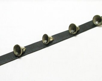 5 Brass Bells on Leather Collar,  Horse Bells, Horse Decoration, Horse Parade Bells, Neck Collar Bells, French Bells, Brass Bells