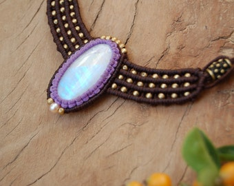 Moonstone Macrame Necklace