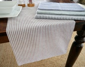 Cotton Linen Stripe Table Runner, Green, Blue, Black or Latte Brown
