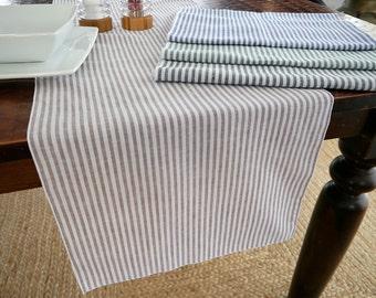 Cotton Linen Stripe Table Runner, Green, Blue, Black or Latte Brown
