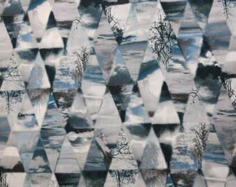 LIBERTY OF LONDON Tana Lawn Cotton Fabric  'Matt Madison' Blue/Grey Geometric