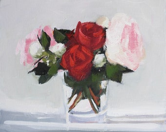 Pink Peony Flower Painting, Floral Still Life, Original Oil paint on flat 8x10 inch wood panel, Canadian Art