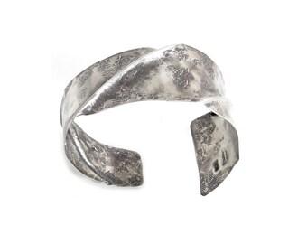 Rustic Dark Silver Cuff Bracelet - Oxidized Silver Bracelet - Distressed Silver Metal Cuff Bracelet - Matte Silver Bracelet - Folded Silver