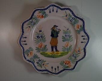 Antique Henriot Quimper Ceramic Plate Breton