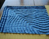 Heavy Blue on Blue Vintage Chenille Bedspread Fabric 24x18