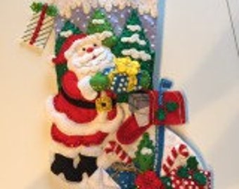 "Bucilla Completed Felt Christmas Stocking Santa's Mailbox 18"" long"