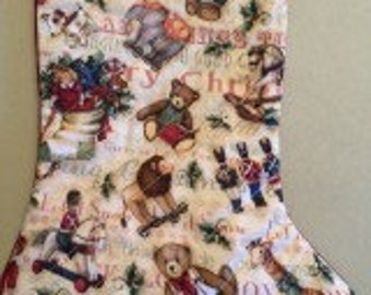 Sale Quilted Patchwork Christmas Stocking with old time toys
