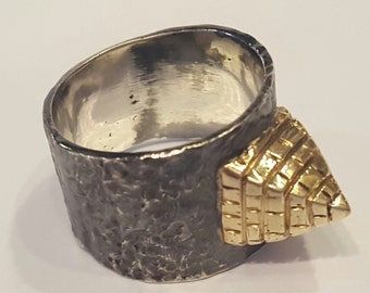 14k Gold and Silver Pyramid Ring R1715