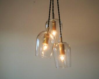 Wine Glass Chandelier Cluster - Repurposed Custom Pendant Light