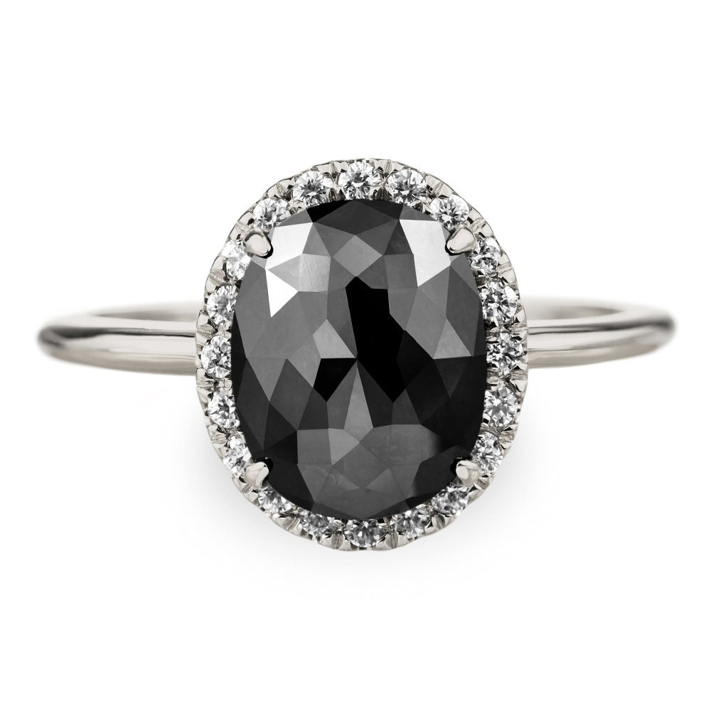 2.5 Carat Black Diamond Engagement Ring 14k White Gold