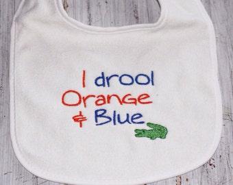 Choose your team! I Drool Orange & Blue Bib