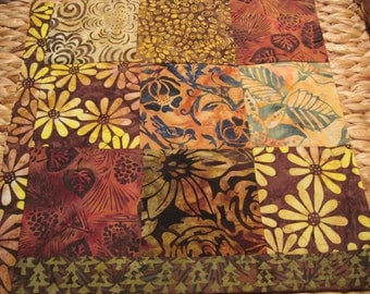 """14"""" x 14"""" Batiks Pillow COVER - 9 Chocoloate Mocha Brown Squares of Nature Song Birds"""