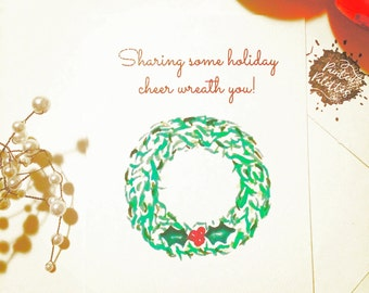 Two pack of 4.25 x 5.5 Holiday Note Cards with watercolor painting of Holly, Wreath, and Reindeer