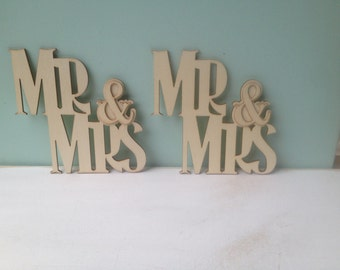 Two Unfinished Wood Mr. and Mrs. Signs, Unpainted Mr. and Mrs. Signs Wood Crafting Supplies