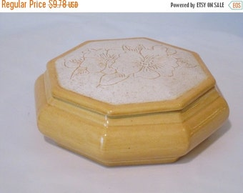 MOVING SALE Ceramic Jewelry/Catch-All  Box. Octagonal Sunny Yellow with Hand Etched Floral Lid.