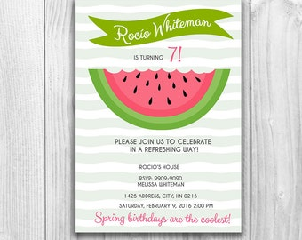 Watermelon Birthday Invitation/ Fruit Party Invitation/ Spring/ Printables