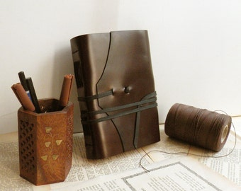 large travel journal, leather book, diary notebook in vintage style