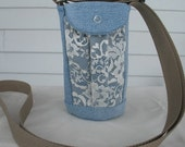Water Bottle Holder Sling//Walkers Insulated Water Bottle Cross Body Bag// Hikers Water Bag-Recycled Blue Jean Fabric with Lace Pockets