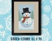Round Snowman Cross Stitch Pattern - Instant Download PDF - Modern Cross Stitch Design