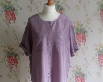 Vintage blouses summer top silk blouse womens clothing shirt ladies shirts work casual light jacket short sleeves jade  Dolly Topsy Etsy UK