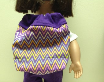 18 inch doll, including American Girl doll backpack in chevon multicolor print