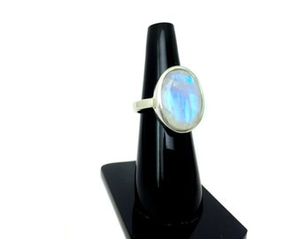 Rainbow Moonstone Sterling Silver Hammered Ring Blue Flashy faceted natural Gemstone engagement Valentine wedding ring christmas giftforher