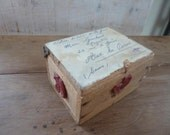 Antique French Postage Post Box Small parcels Wood with Wax Seal sliding Lid