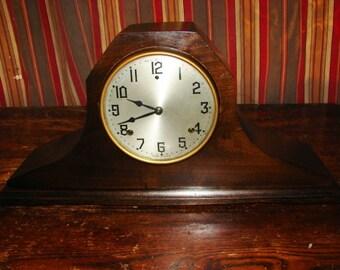 Beautiful Gilbert Mahogany Tambour Mantel Clock in Great Working Condition