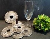 Set of Six Glass Coasters and 1 Bottle Coaster -Exact Replica of 1924 '25 Centimes Coins -Liberté, Egalité, Fraternité'.